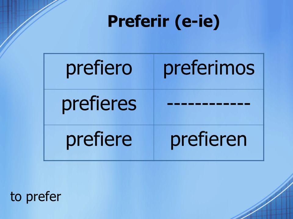 prefiero preferimos prefieres ------------ prefiere prefieren