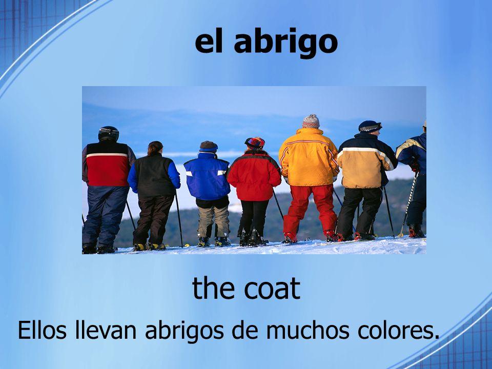 el abrigo the coat Ellos llevan abrigos de muchos colores.