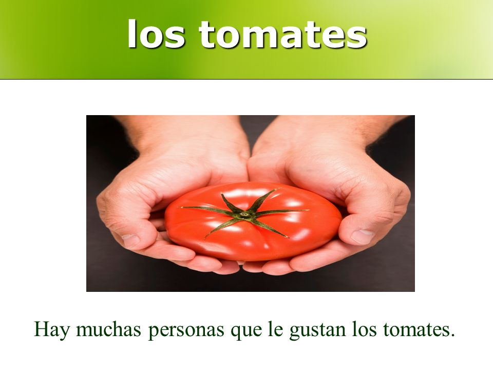 los tomates Hay muchas personas que le gustan los tomates.