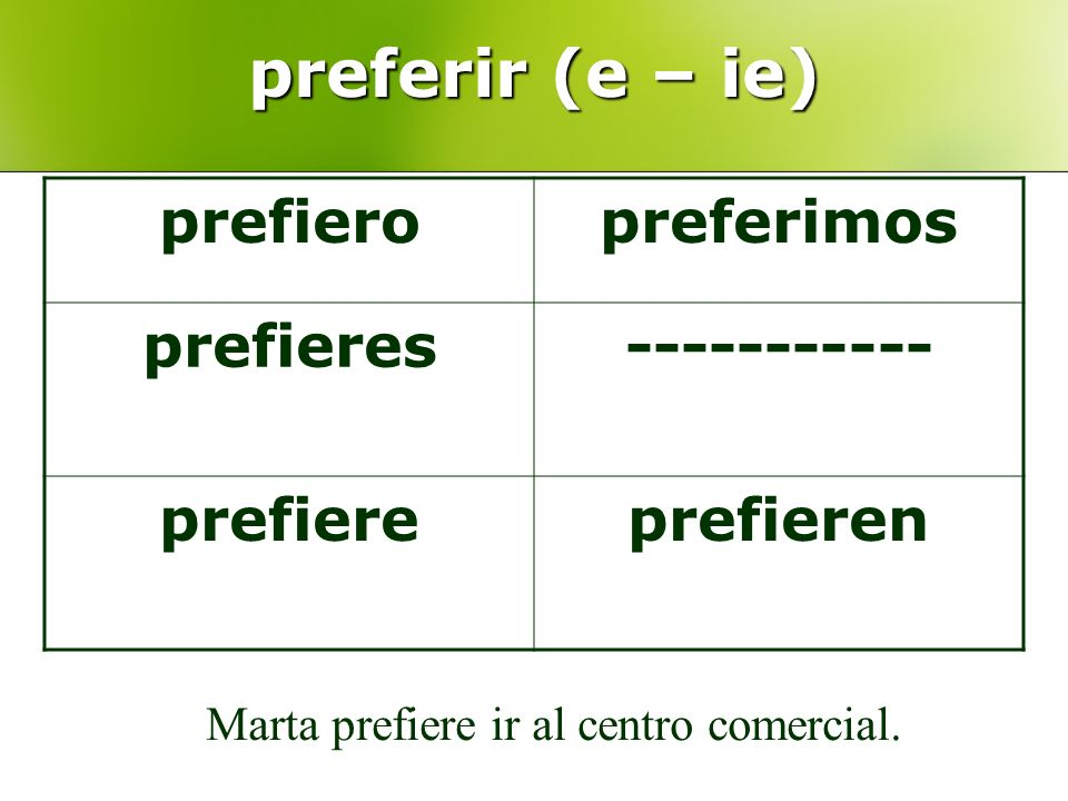 preferir (e – ie) prefiero preferimos prefieres ----------- prefiere