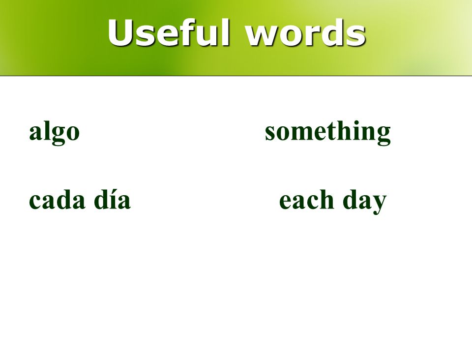 Useful words algo something cada día each day