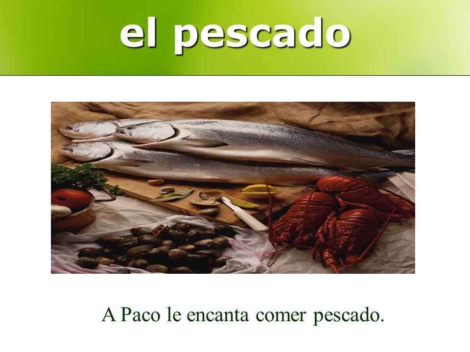 el pescado A Paco le encanta comer pescado.