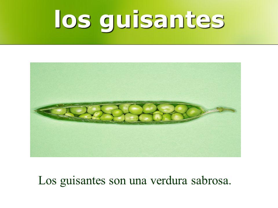 los guisantes Los guisantes son una verdura sabrosa.
