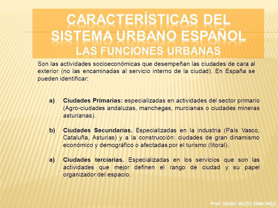 CARACTERÍSTICAS DEL SISTEMA URBANO ESPAÑOL Las funciones urbanas