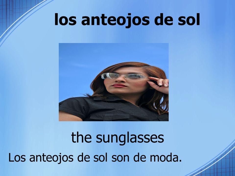 los anteojos de sol the sunglasses Los anteojos de sol son de moda.