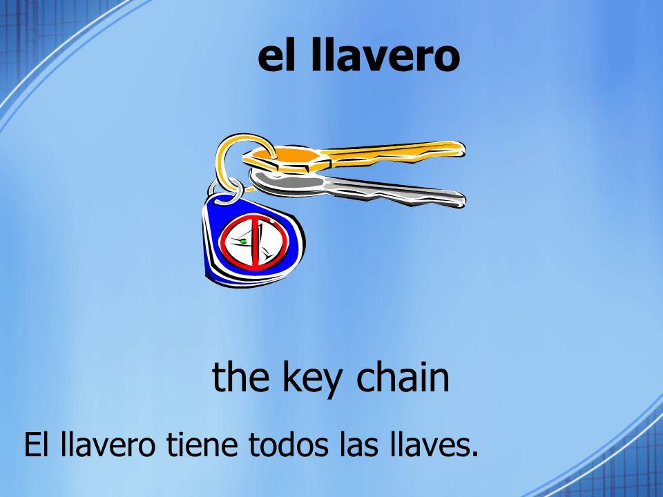 el llavero the key chain El llavero tiene todos las llaves.