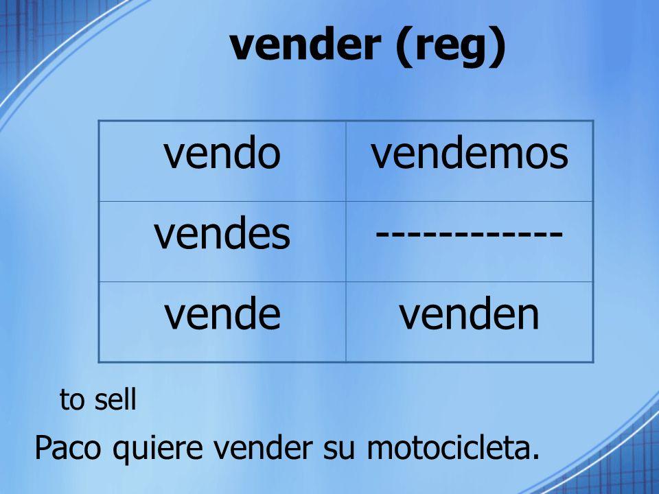 vender (reg) vendo vendemos vendes ------------ vende venden to sell