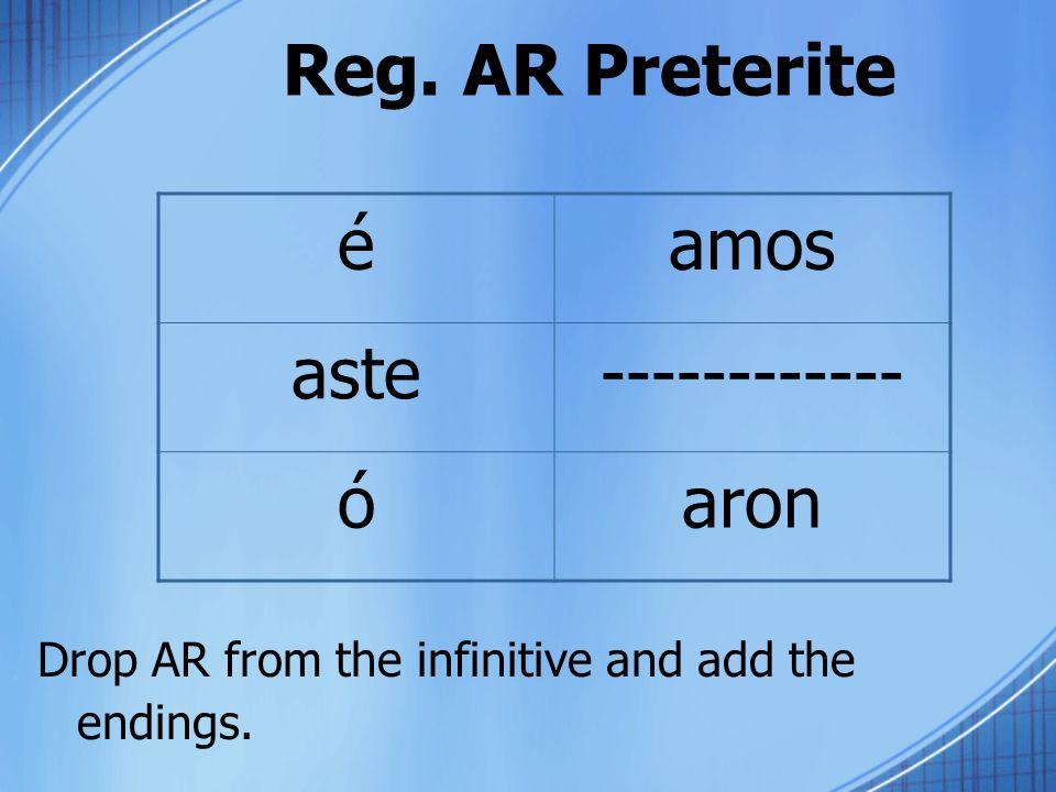 Reg. AR Preterite é amos aste ------------ ó aron