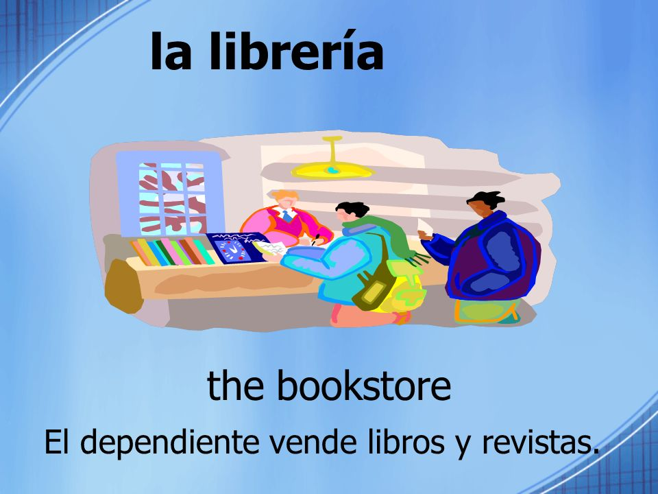 la librería the bookstore El dependiente vende libros y revistas.