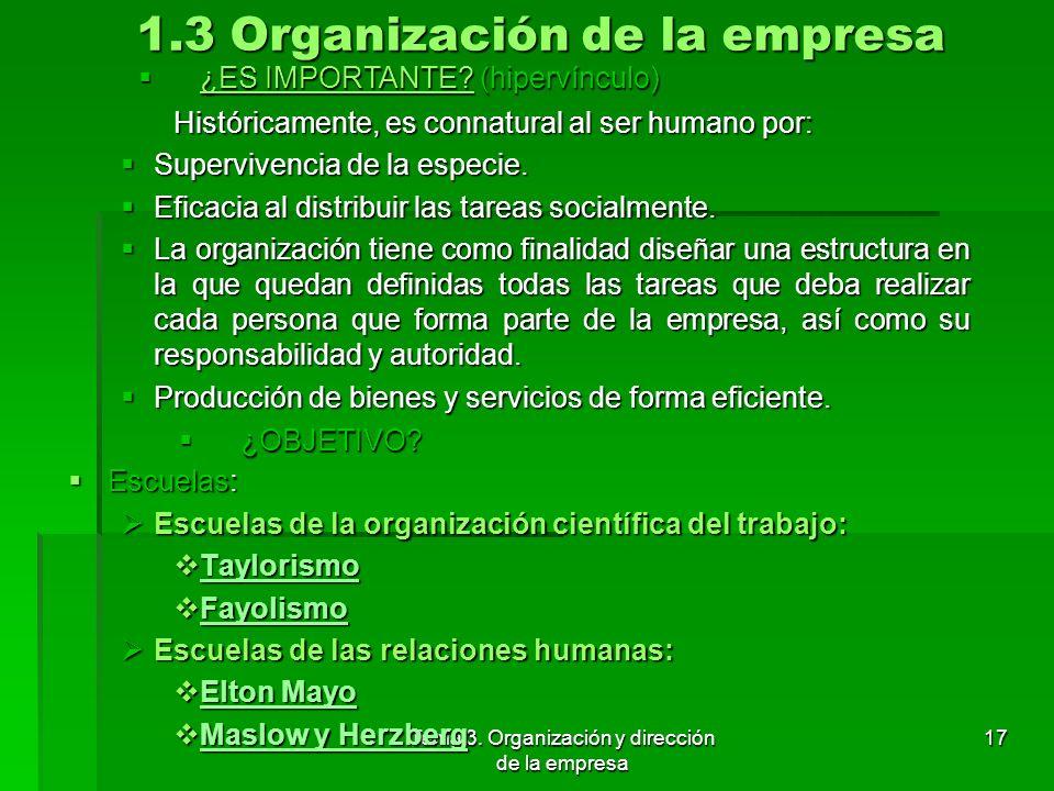 1.3 Organización de la empresa