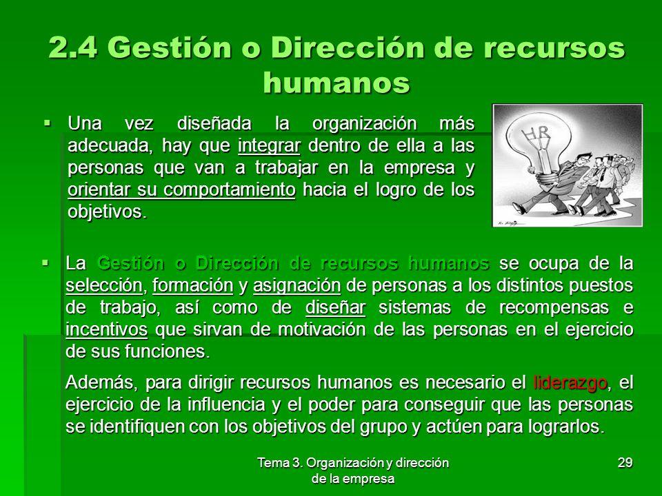 2.4 Gestión o Dirección de recursos humanos