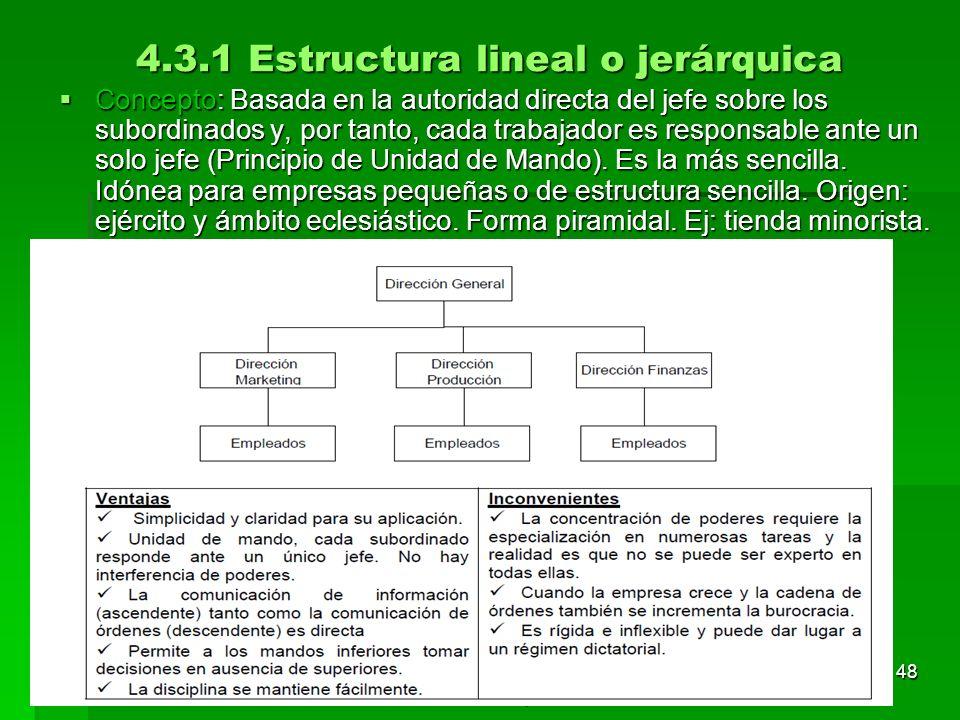 4.3.1 Estructura lineal o jerárquica