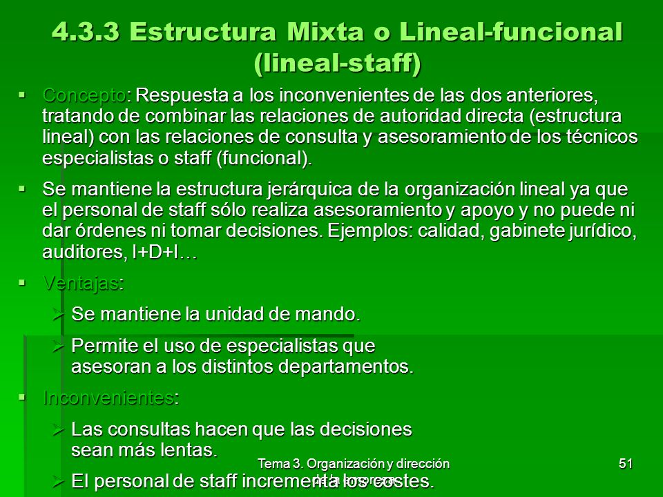 4.3.3 Estructura Mixta o Lineal-funcional (lineal-staff)