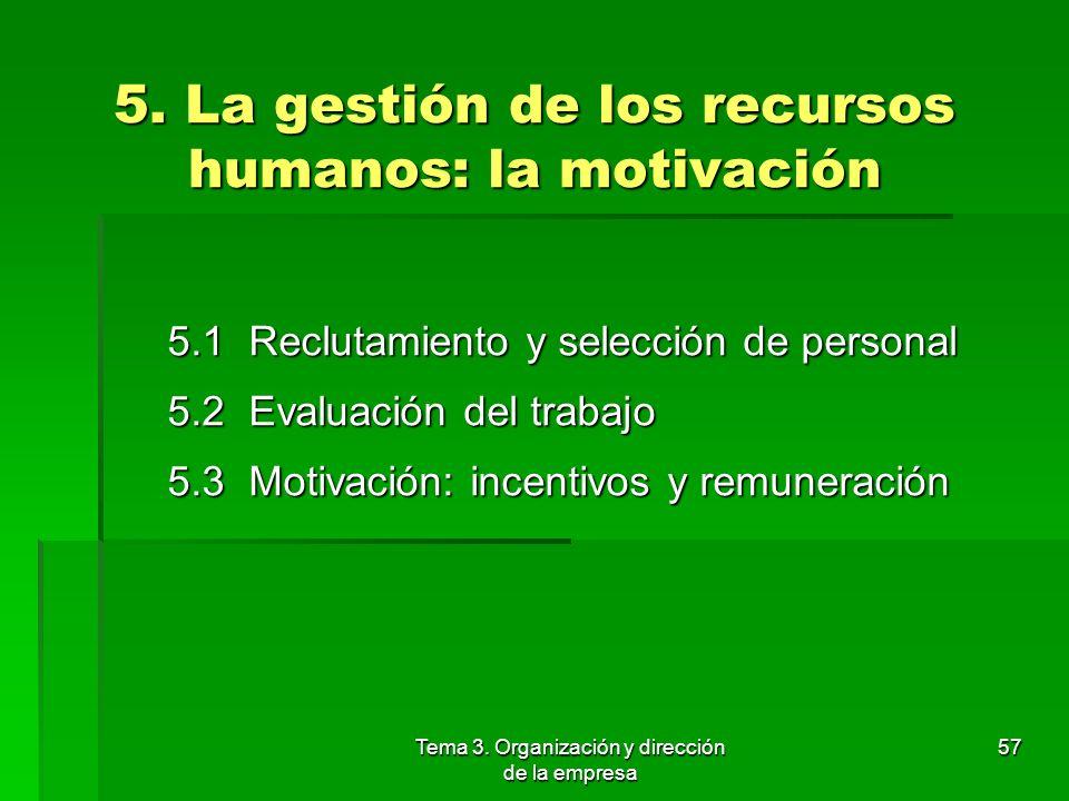 5. La gestión de los recursos humanos: la motivación