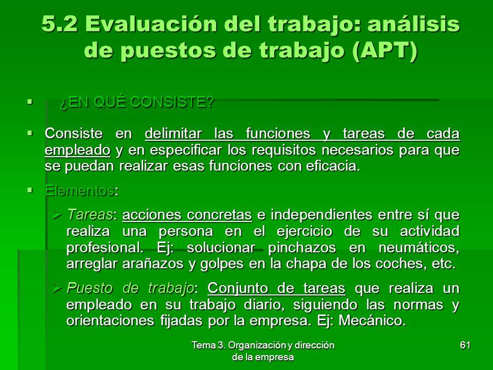 5.2 Evaluación del trabajo: análisis de puestos de trabajo (APT)
