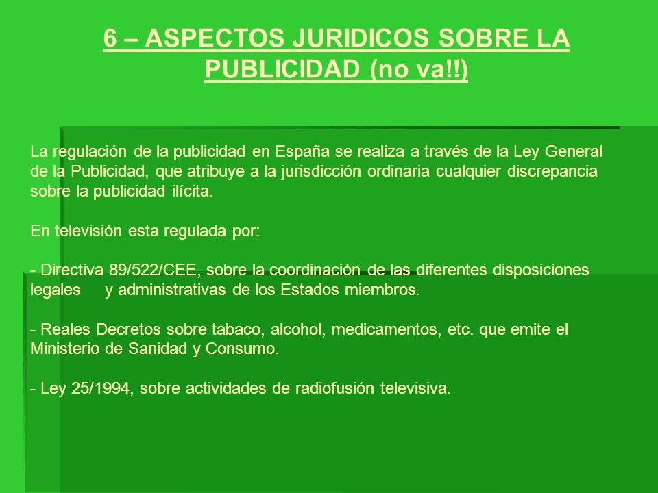 6 – ASPECTOS JURIDICOS SOBRE LA PUBLICIDAD (no va!!)