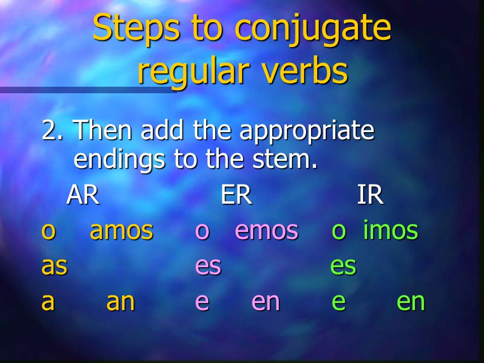 Steps to conjugate regular verbs