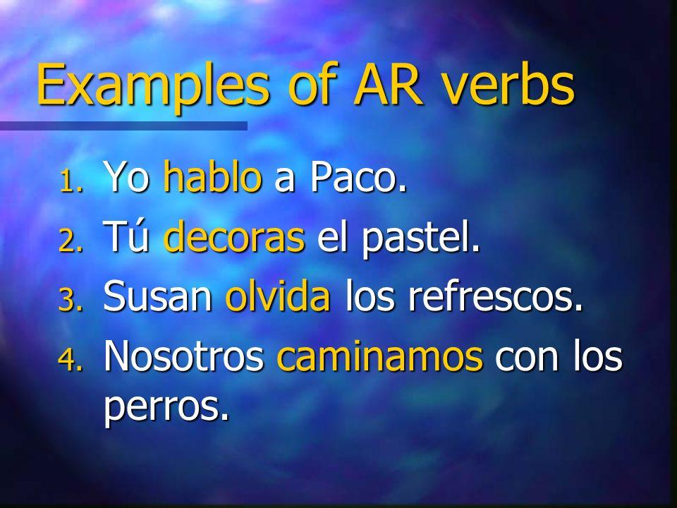 Examples of AR verbs Yo hablo a Paco. Tú decoras el pastel.