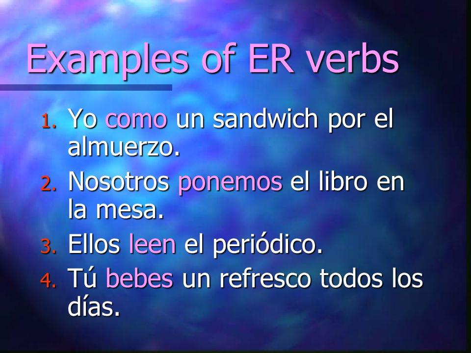 Examples of ER verbs Yo como un sandwich por el almuerzo.