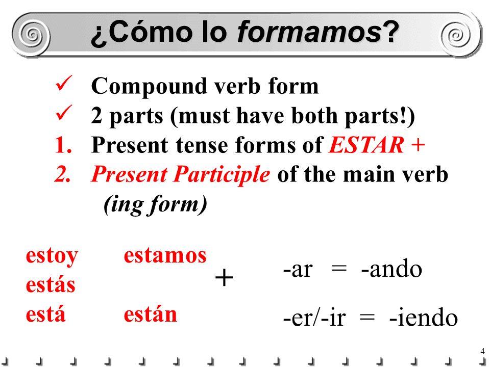 ¿Cómo lo formamos -ar = -ando + -er/-ir = -iendo Compound verb form