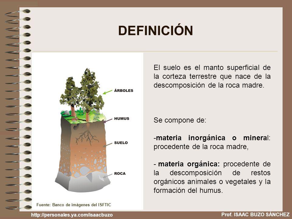 DEFINICIÓN El suelo es el manto superficial de la corteza terrestre que nace de la descomposición de la roca madre.