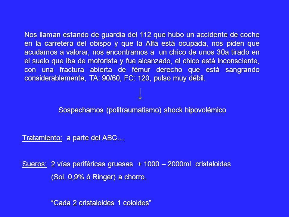 Sospechamos (politraumatismo) shock hipovolémico