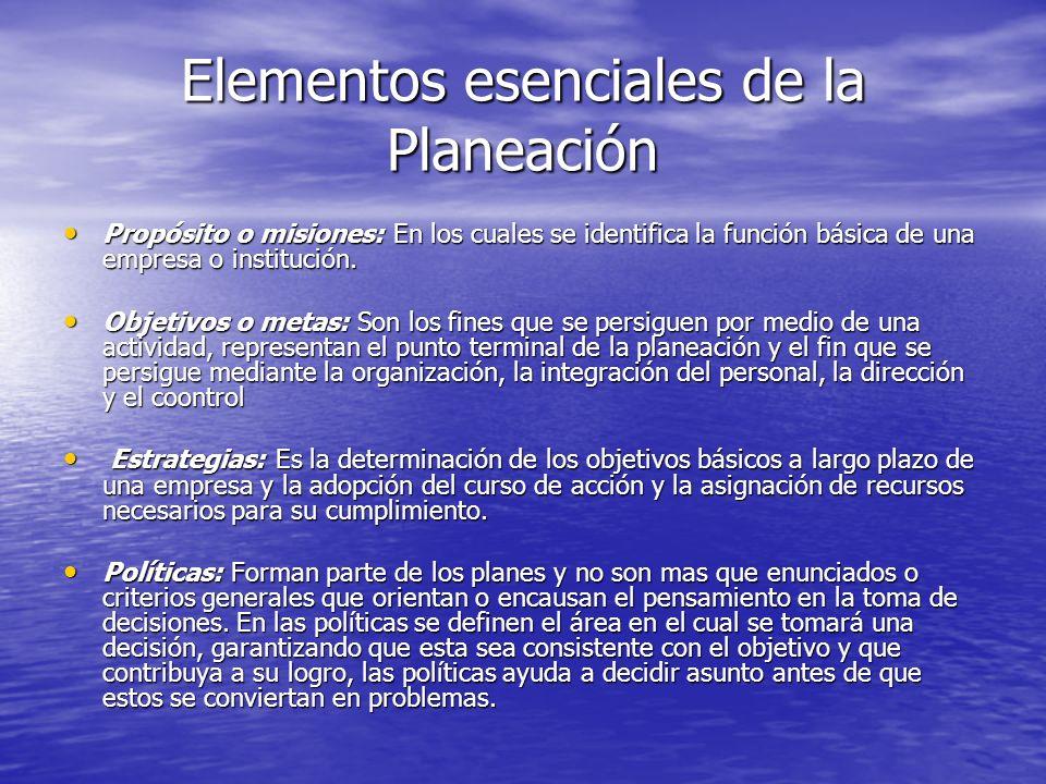 Elementos esenciales de la Planeación