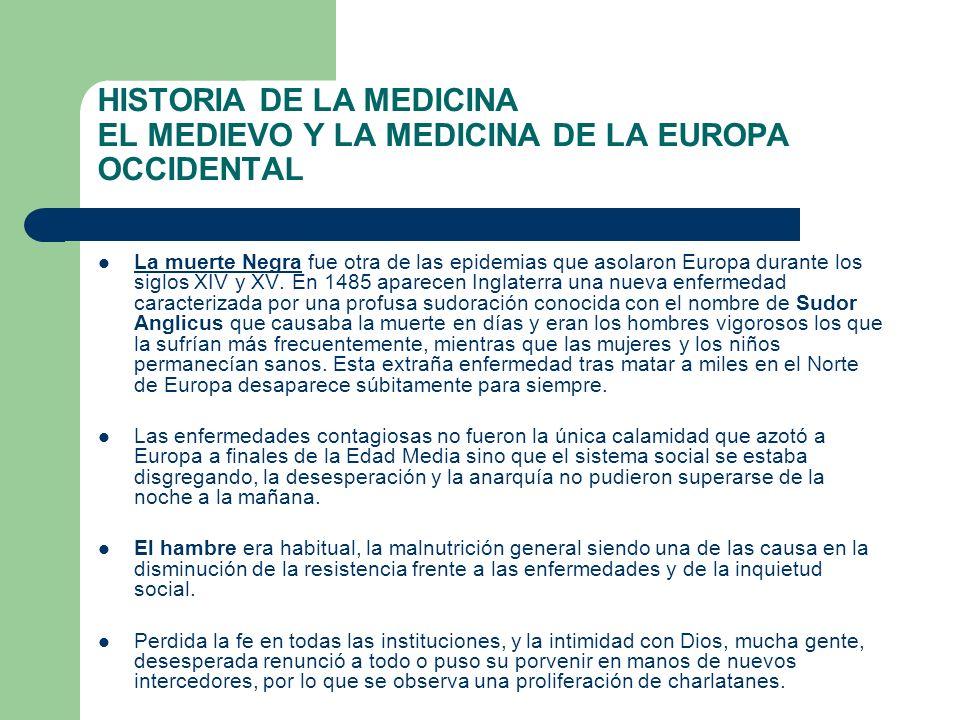 HISTORIA DE LA MEDICINA EL MEDIEVO Y LA MEDICINA DE LA EUROPA OCCIDENTAL