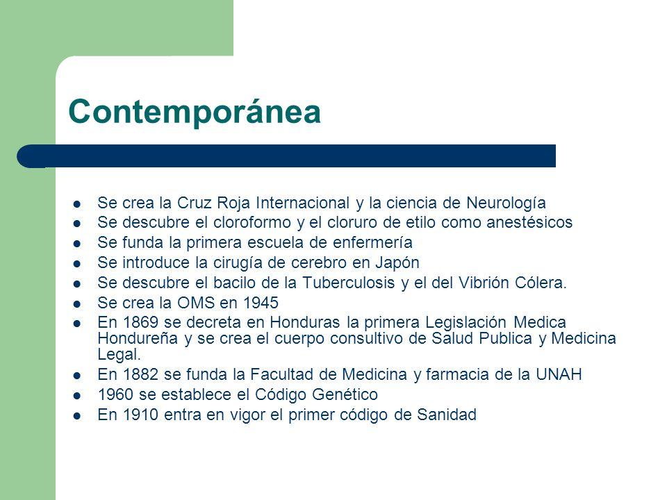 Contemporánea Se crea la Cruz Roja Internacional y la ciencia de Neurología. Se descubre el cloroformo y el cloruro de etilo como anestésicos.