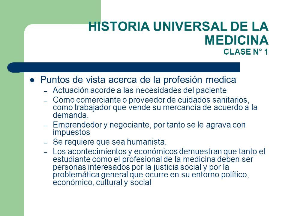 HISTORIA UNIVERSAL DE LA MEDICINA CLASE N° 1