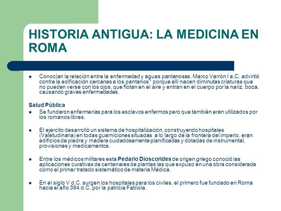 HISTORIA ANTIGUA: LA MEDICINA EN ROMA