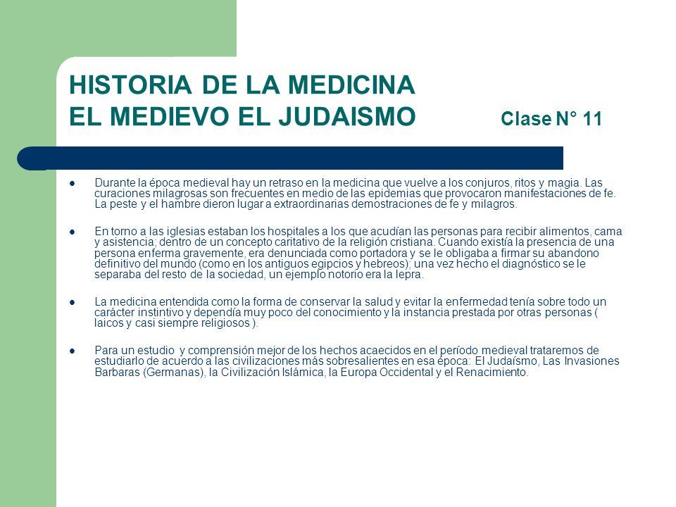 HISTORIA DE LA MEDICINA EL MEDIEVO EL JUDAISMO Clase N° 11
