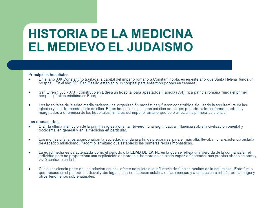 HISTORIA DE LA MEDICINA EL MEDIEVO EL JUDAISMO