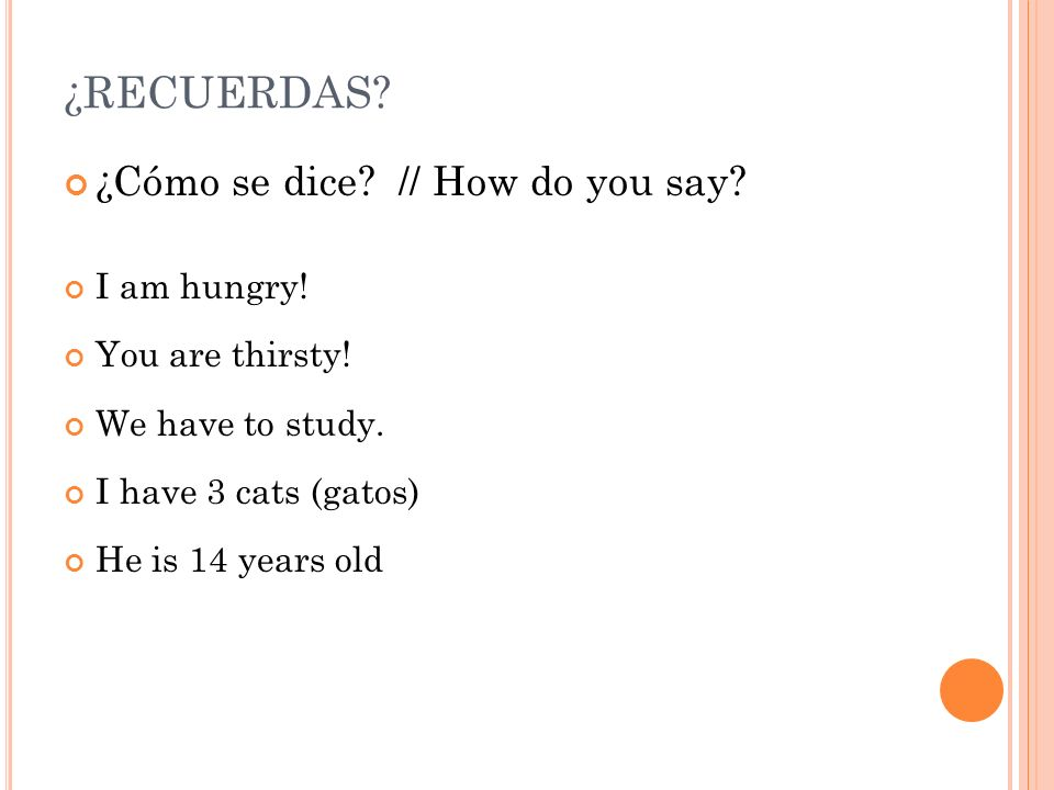 ¿RECUERDAS ¿Cómo se dice // How do you say I am hungry!