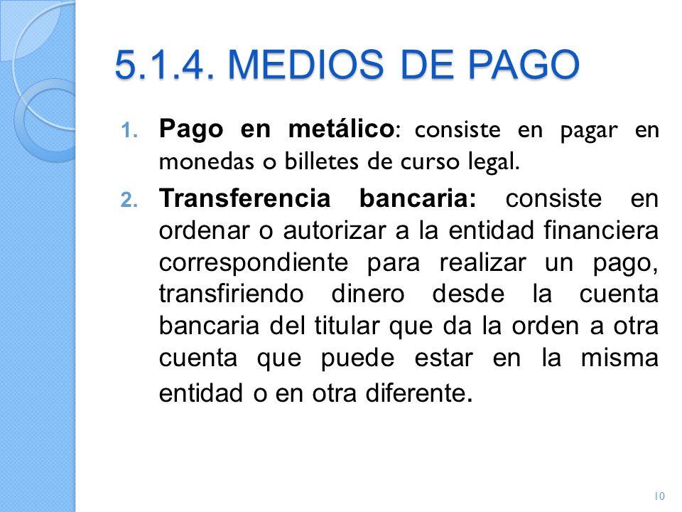 5.1.4. MEDIOS DE PAGO Pago en metálico: consiste en pagar en monedas o billetes de curso legal.