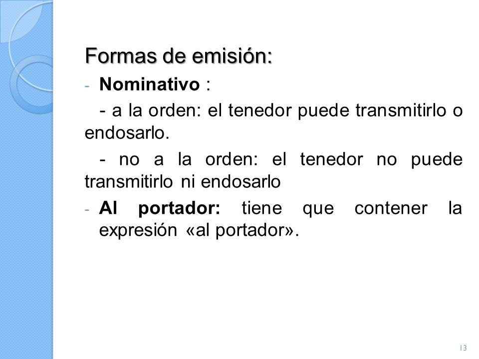 Formas de emisión: Nominativo :
