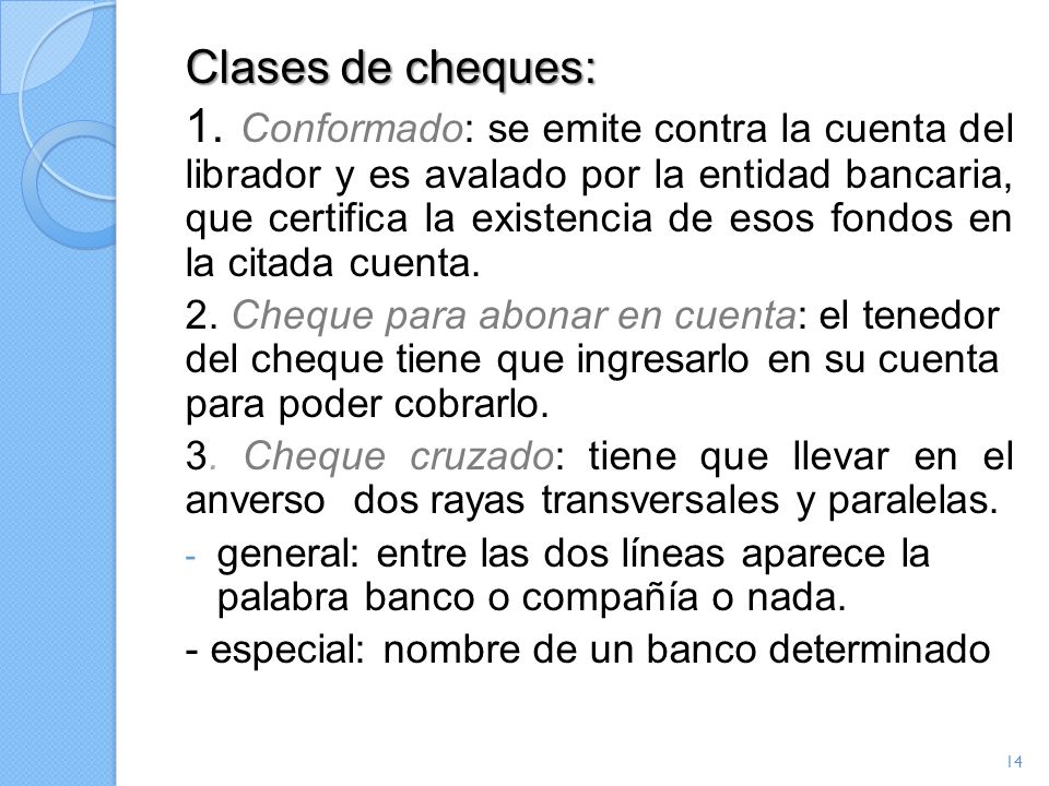 Clases de cheques:
