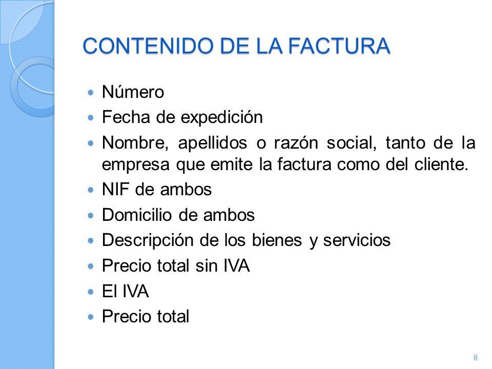 CONTENIDO DE LA FACTURA