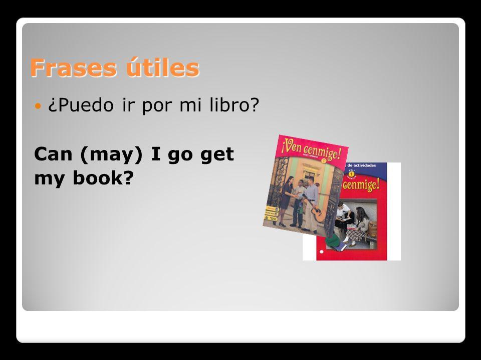 Frases útiles ¿Puedo ir por mi libro Can (may) I go get my book
