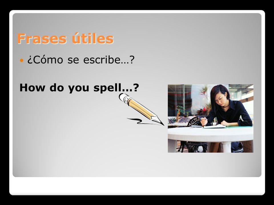 Frases útiles ¿Cómo se escribe… How do you spell…
