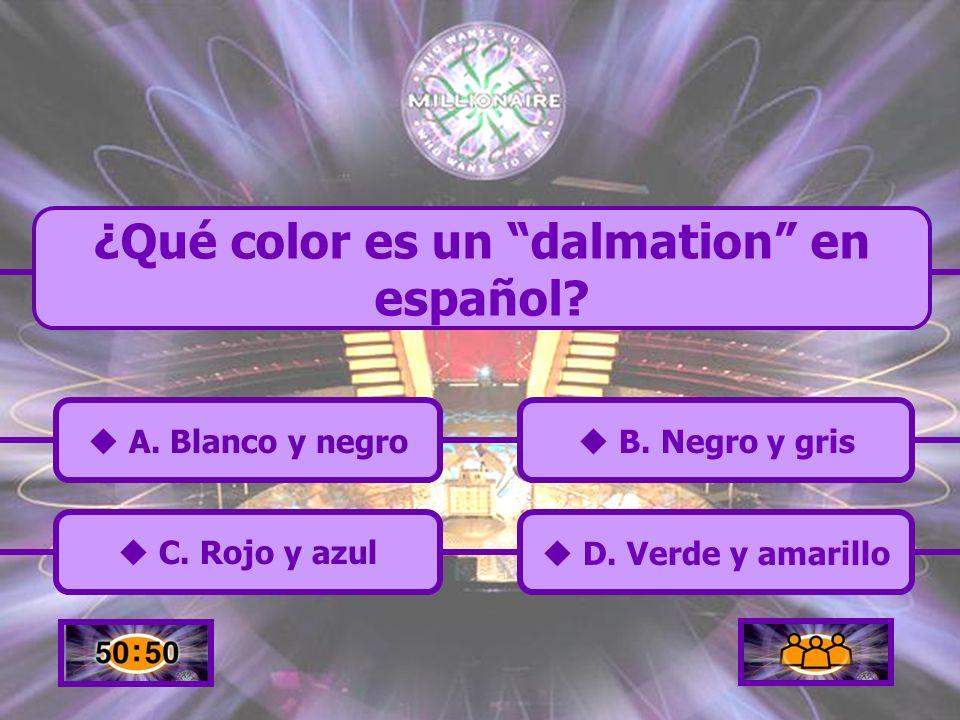 ¿Qué color es un dalmation en español