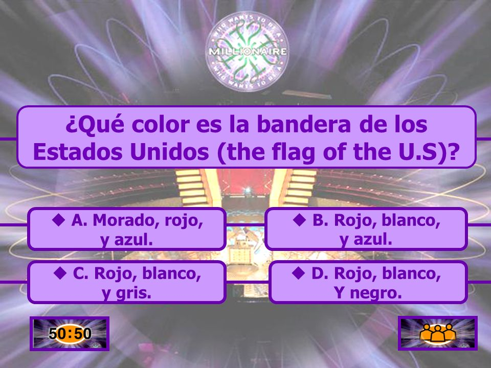 ¿Qué color es la bandera de los Estados Unidos (the flag of the U.S)