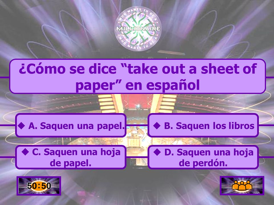 ¿Cómo se dice take out a sheet of paper en español