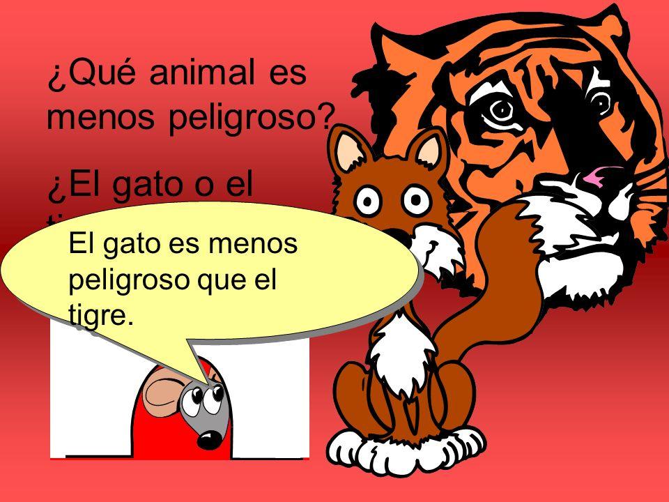 ¿Qué animal es menos peligroso ¿El gato o el tigre