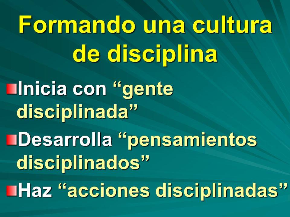 Formando una cultura de disciplina