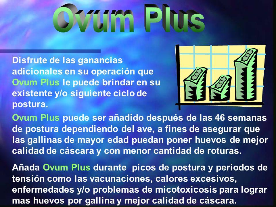 Ovum Plus Disfrute de las ganancias adicionales en su operación que Ovum Plus le puede brindar en su existente y/o siguiente ciclo de postura.