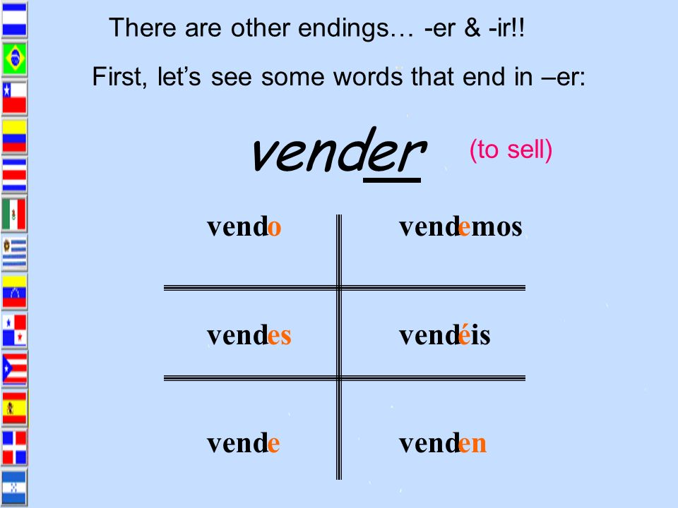 vend er vend o es e emos éis en There are other endings… -er & -ir!!