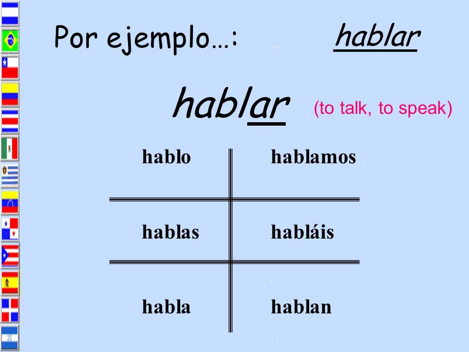 habl ar hablar Por ejemplo…: habl o as a amos áis an