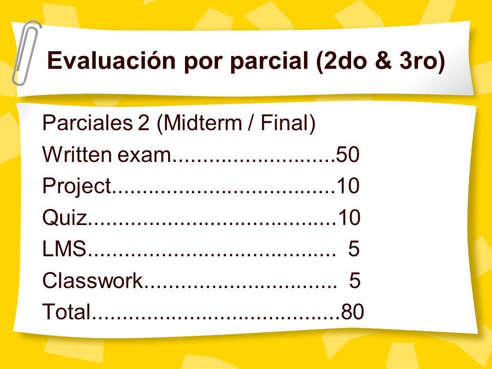 Evaluación por parcial (2do & 3ro)