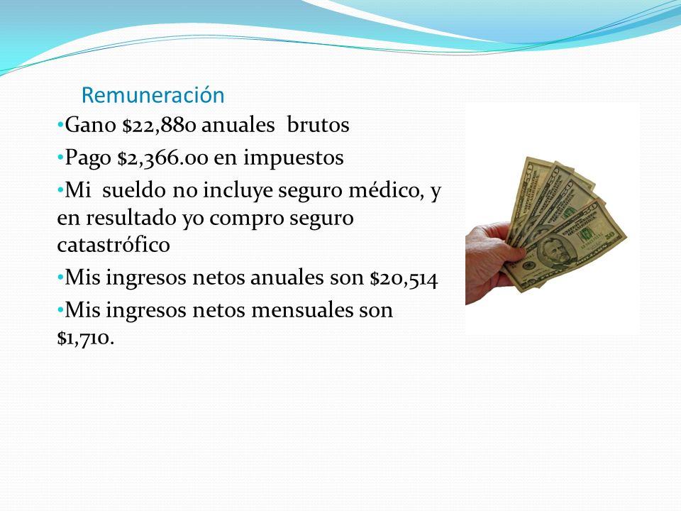 Remuneración Gano $22,880 anuales brutos Pago $2,366.00 en impuestos